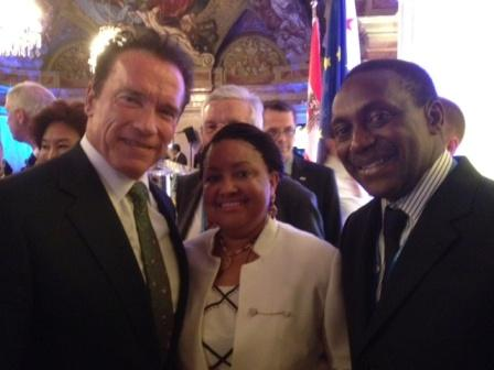 Former California Governor Arnold Schwarzenegger and Mr. & Mrs. Yumkella