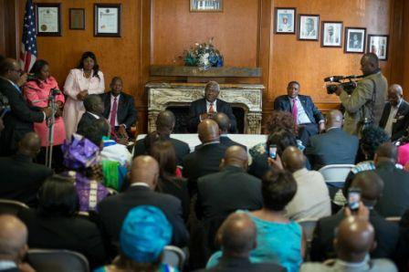 President Ernest Bai Koroma addressing Sierra Leonean Heads of organization and Community groups at the Embassy of Sierra Leone