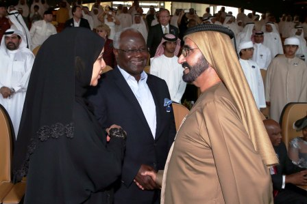 President Ernest Bai Koroma being received by the ruler of Dubai, His Highness Mohammed Bin Rashid Al Maktoum
