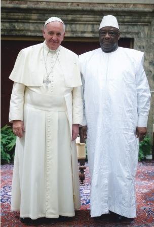 Pope Francis and Ambassador Ibrahim Sorie inside The Vatican