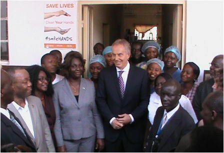 Group Photo Tony Blair (centre) flanked by hospital staff of the Dialysis Unit